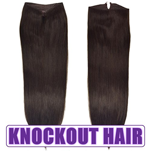 "Fits like a Halo Hair Extensions 16''-18"" - No Clips, No glue, No Tape, No Damage! It's so EASY! 100% Remy Premium Couture Grade AAAAA Human Hair! (Dark Brown 16'' #2) by Knockout Hair"