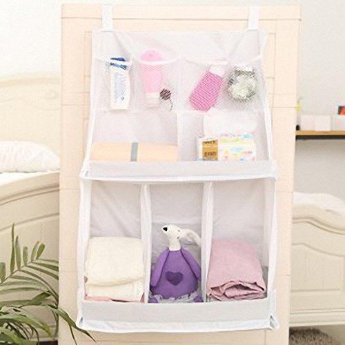 IDecHome Nursery Diaper Hanging Bed Organizer, Nylon Pockets Bedside Caddy for Baby Crib Storage, Shower Gift, White