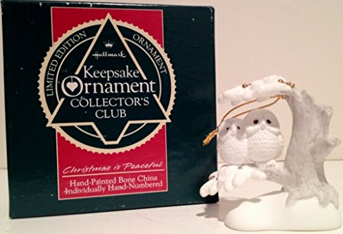 1989 Limited Edition Hallmark Collector's Club Keepsake Ornament: Christmas Is Peaceful - 2 Owls in a Tree (Bone China)
