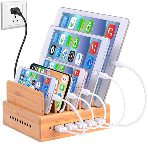 InkoTimes Bamboo Charging Station for Multiple Devices of Universal Cell Phones & Tablets (5-Port USB Charger Included)