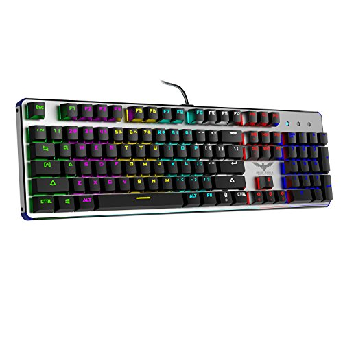 HAVIT RGB Backlit Wired Mechanical Gaming Keyboard with Blue Switches,Black+Sliver