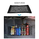 MCARCAR KIT Universal Trunk Organizer Rear Seat Back Cargo Mesh Net Flexible Nylon Car Storage Wall Sticker Pouch Bag