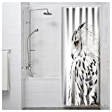 Owl Shower Curtain MuaToo Shower Curtain big grey owl isolated on white background Art Print Polyester Fabric Bathroom Decor Sets with Hooks 72 x 72 Inches, White
