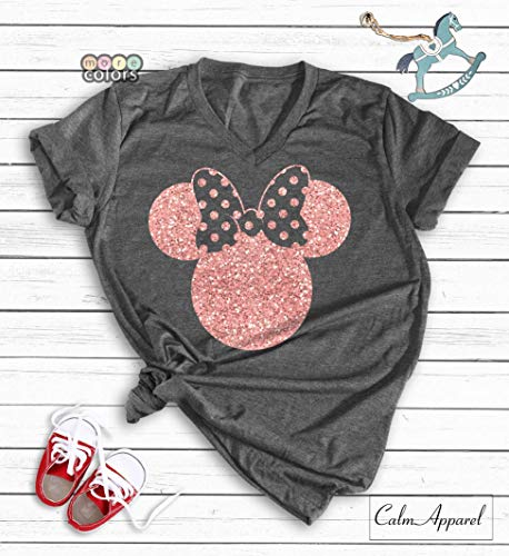 Disney Shirts, Minnie Mouse Ear T-Shirt, Glitter Rose Gold Disneyland Birthday Outfits, Women's World Trip Unisex Tanks