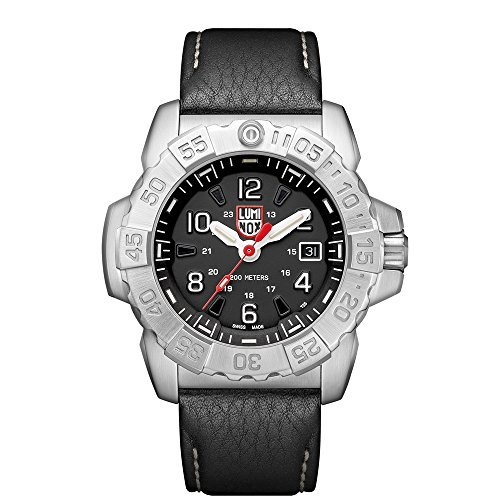 Luminox Men's 'SEA' Swiss Quartz Stainless Steel and Leather Casual Watch, Color:Black (Model: 3251) ()
