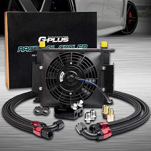 Racing Cooler Oil Kit - 30 ROW AN10 Universal Engine Aluminum Oil Cooler Kit + 7