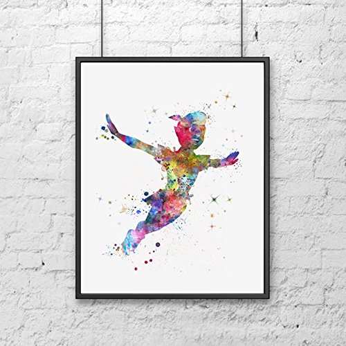 Peter Pan Fly Art Print Watercolor Wall Hanging Peter Pan Watercolor  Painting Kids Bedding Room Art Paper Poster Watercolor Fly Dream Nursery  Wall Decor ...