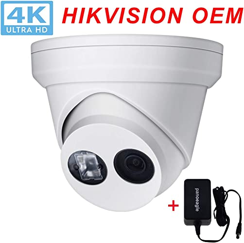 UltraHD 4K 8MP PoE Security IP Camera,OEM DS-2CD2385FWD-I 4mm Lens,Outdoor Camera with EXIR Night Vision,Smart H.265 ,MicroSD Recording 128GB ,IP67,ONVIF Include DC 12V Power Adapter