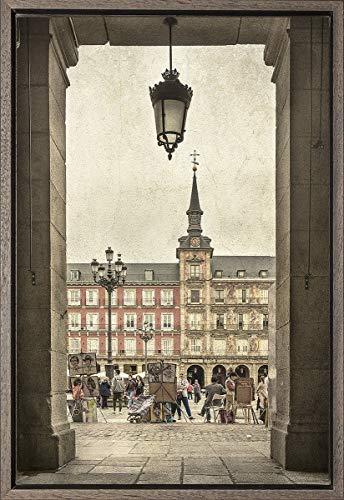 Cuadro enmarcado - Cuadro de la Plaza Mayor de Madrid - Fotografía artística y moderna de alta calidad - Listo para colgar - Hecho a mano en España (20_x_30_cm): Amazon.es: Handmade