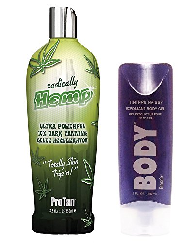 (Pro Tan Radically Hemp Ultra Powerful 10X Dark Tanning Gelee Accelerator 8.5 oz + Juniper Berry Exfoliating Body Scrub 9 oz)