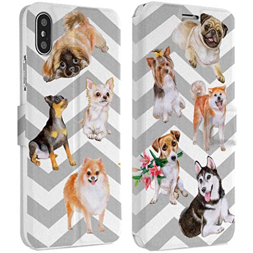 Wonder Wild Nine Dogs IPhone Wallet Case X/Xs Xs Max Xr Case 7/8 Plus 6/6s Plus Card Holder Accessories Smart Flip Clear Design Protection Cover Pug Husky Yorkshire Terrier Chinese Crested Akita