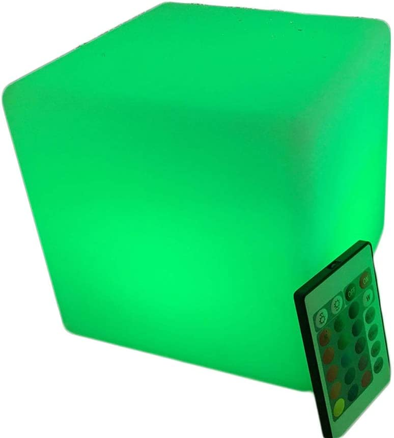 LED Cube Outdoor Luminous Furniture Children's Stool Decorative Nightlight Party Christmas Lights IP65 Waterproof, Rechargeable - Glow Light up Furniture - for Indoor/Outdoor (Size : 35cm/13.7 inch)