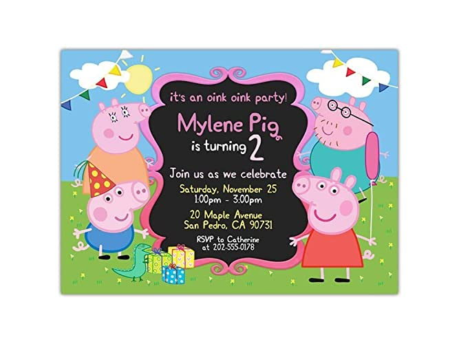 Amazon Com Custom Peppa Pig Birthday Party Invitations For Kids