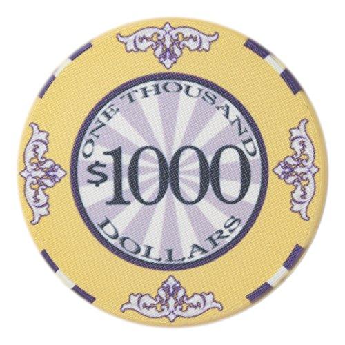 Yellow Scroll - Brybelly Scroll Poker Chip Lightweight 10-gram Casino Grade Ceramic – Pack of 50 ($1000 Yellow)
