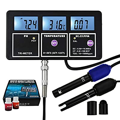 5-in-1 Water Quality Multi-Parameter PH EC CF TDS (ppm) Temperature Test Meter Backlight, Wall-mountable Rechargeable Continuous Monitor Tester, Aquariums Hydroponics Pool Fish Tank Pond Drinking