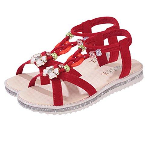 Sandalen Damen,VENMO 2017 Sommer Sandalen Schuhe Peep-Toe Schuhe Damen Flip Flops Roman Sandalen Rot