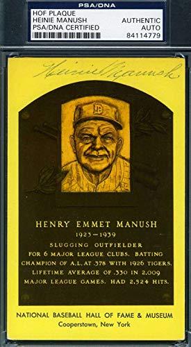 HEINIE MANUSH PSA DNA Coa Autograph Gold HOF Plaque Hand Signed Authentic