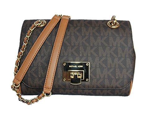 d4dafa04a206b0 Michael Kors Vivianne Medium Shoulder Flap Signature Brown Crossbody Bag (Flap  Bag Signature Jacquard)