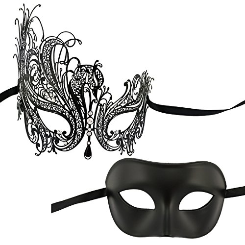 2019 One Pair Luxury Venetian Party Masquerade Mask Women Men(Classic Couples swan) Black -
