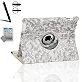 Zeox Apple iPad Air Case - 360 Degree Rotating Stand Case Cover with Auto Sleep / Wake Feature for iPad Air (iPad 5th Generation) 2013 Model- Flower Gray