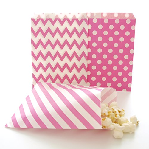 Hot Pink Goodie Bags, Bridesmaid Gift Bag, Party Favors Bags, Goody Bags Ideas, 75 Pack - Fuchsia, Striped, Polka Dot & Chevron -