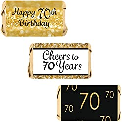 DISTINCTIVS 70th Birthday Party Miniatures Candy Bar Wrapper Stickers - Gold and Black (Set of 54)