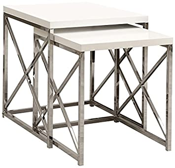 Monarch Specialties I 3025 Glossy White and Chrome Metal Nesting Table Set, 2-Piece
