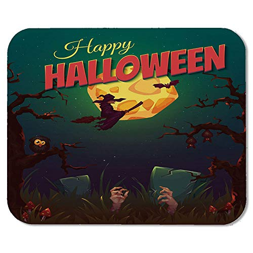 Halloween Wristband Mouse Pad,Happy Halloween Poster Design Witch on Broom Mushroom Dead Resurgence Vintage Decorative for Home Desk Computer Desk,7.87''Wx9.45''Lx0.08''H