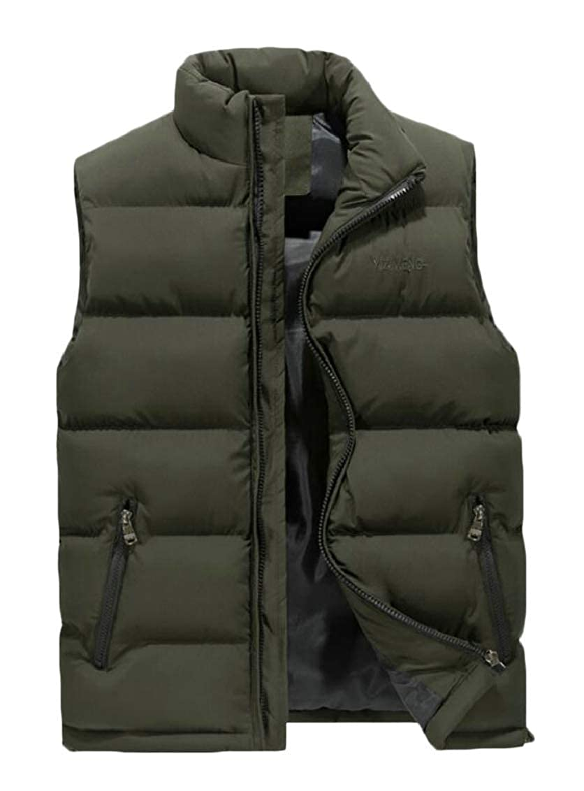 Jaycargogo Mens Classic Sleeveless Stand Collar Quilted Puffer Down Vest Coats
