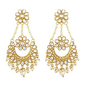 The Luxor Non-Precious Metal Gold Plated Pearl Earrings For Women's & Girls