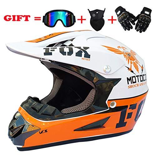 Full Face Motocross Helmet Off Road Riding Racing Helmet Clear Lens Shield Moto Helmet White Eagle L