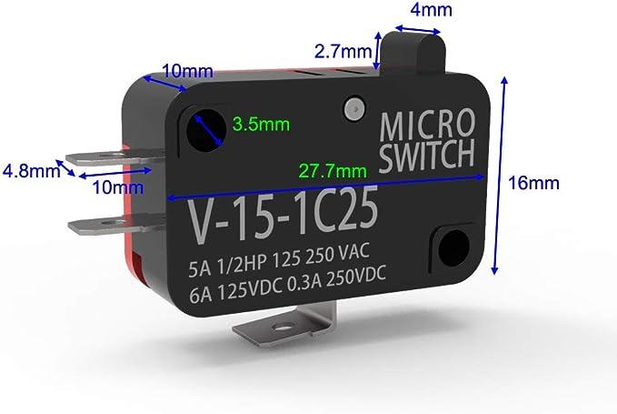Gebildet 1 Juego 100 V-240 V Cable Azul Interruptor Magn/ético Normalmente Abierto Alarma de Sensor de Contacto de Puerta de Ventana de Seguridad Empotrada Interruptor de leng/üeta Magn/ético