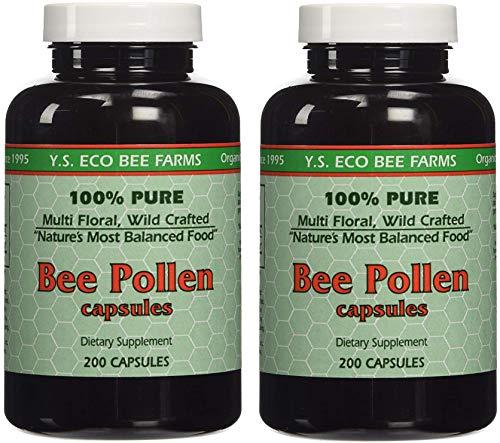 YS Organics Bee Pollen - 200 Capsules (Pack of 2)