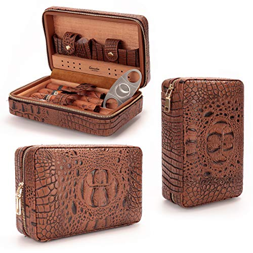 Portable Gift Set - LAGUTE Groucho Leather Cigar Case CC-01S Humidor with Cutter and Dropper, Cedar Wood Lined, Humidifier and Removable Trays, Portable Cigar Box Gift Set for 4 Cigars