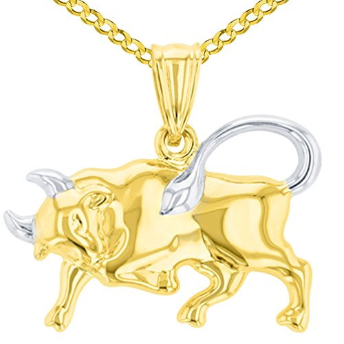High Polish 14K Yellow Gold Bull Pendant Taurus Zodiac Sign Charm Cuban Chain Necklace, 16
