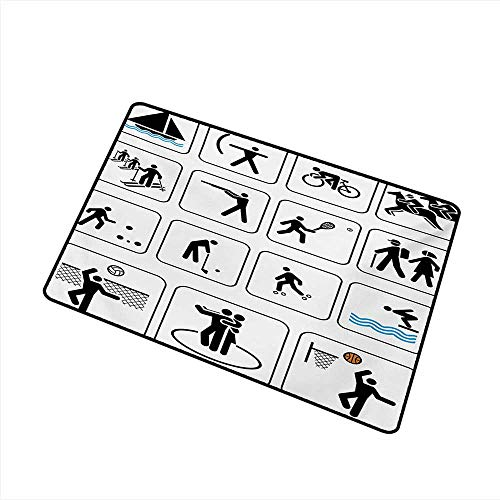 duommhome Non-Slip Door mat Olympics Sports Competition Games Signs Dancing Horse Riding Bowling Athletics Themed Art W20 xL31 Hard and wear Resistant ()