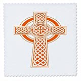 3dRose Taiche - Vector - Celtic Cross - St Patricks Day Celtic Cross Orange and White - 12x12 inch quilt square (qs_275682_4)
