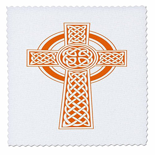 3dRose Taiche - Vector - Celtic Cross - St Patricks Day Celtic Cross Orange and White - 20x20 inch quilt square (qs_275682_8) by 3dRose