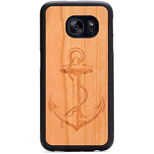 Carved Anchor Engraved Cherry Samsung Galaxy S7 Traveler Wood Case - Black Protective Bumper with Real All Wooden Cover Sales