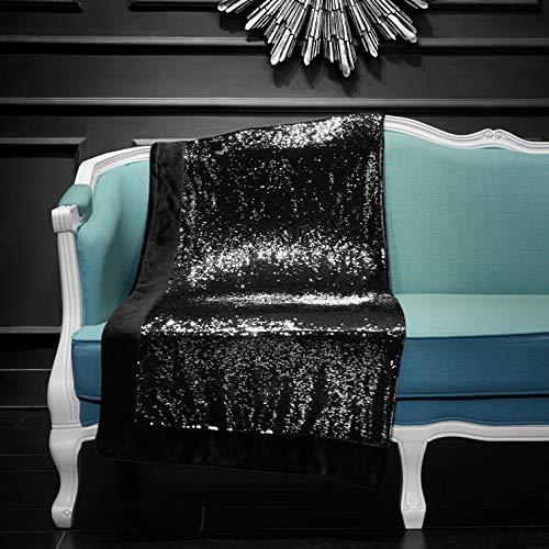 Pop Shop Reversible Mermaid Sequin Throw, Black/Silver (Sequin Blanket Gold Throw)