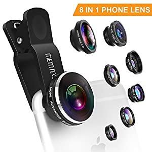 Phone Lens - Cell Phone Camera Lens Kit Universal 8 in 1 Clip on Smartphone Lens PRO 0.4X Wide Angle Lens 0.65X Macro Lens 180° Fisheye Lens CPL Lens Telephoto Lens for iPhone Samsung Android Phones