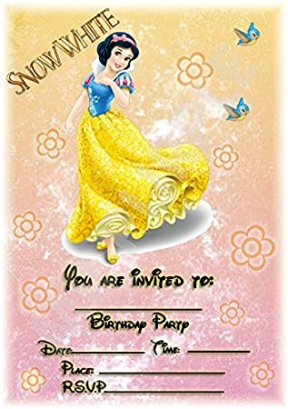Disney Snow White Birthday Party Invites Floral Portrait Design Party Supplies Accessories Pack Of 12 A5 Invitations With Envelopes