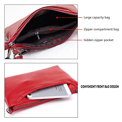 Small Bag Wine Zipper Red Clutch Genuine Purse Shoulder Bag Tassel Women Wallet Artwell Leather Phone Crossbody 6Xx8g