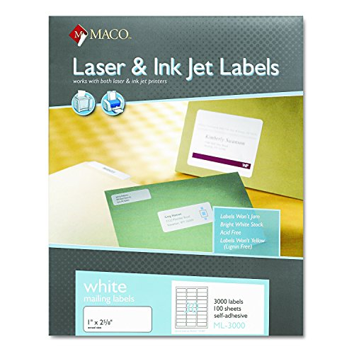 Maco Laser/Ink Jet White Address Labels, 1 x 2-5/8