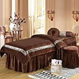YXLHJ Skin-Friendly Crystal Velvet Beauty Bed Cover,Massage Table Sheet Sets Pure Color, 4 Pieces Beauty Salon Massage Spa Bedspread with Face Rest Hole-Brown 80x190cm(31x75inch)