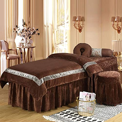 (YXLHJ Skin-Friendly Crystal Velvet Beauty Bed Cover,Massage Table Sheet Sets Pure Color, 4 Pieces Beauty Salon Massage Spa Bedspread with Face Rest Hole-Brown 80x190cm(31x75inch))