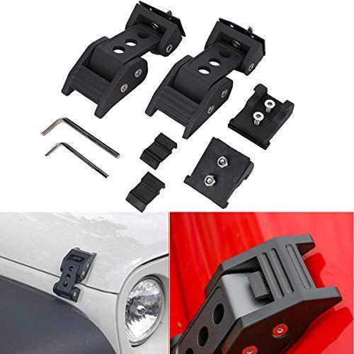 KanSmart 1 Pair New Hood Latches Hood Lock Catch Stainless Steel Kit for Jeep Wrangler JK JKU 2007-2017