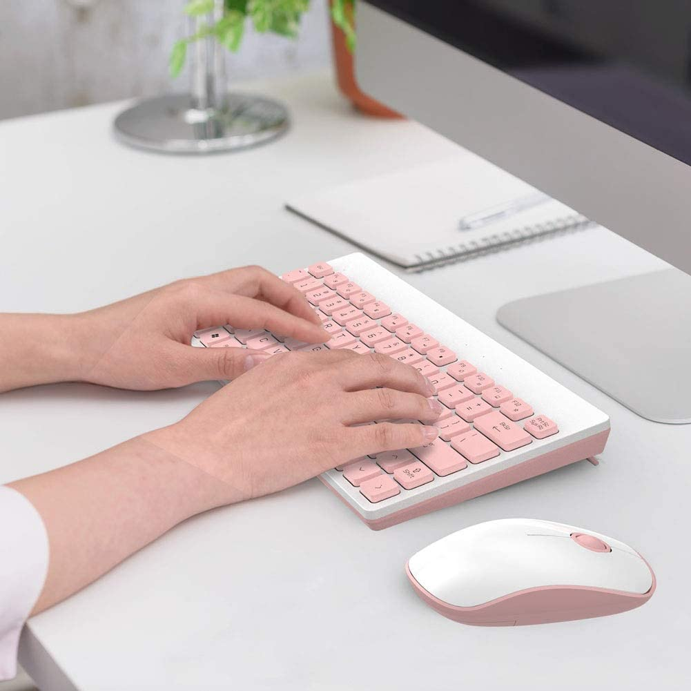 Laptop Game Office Home Color : Pink Mute Thin and Light System Compatibility Internet Cafe Wireless Keyboard and Mouse Set Household