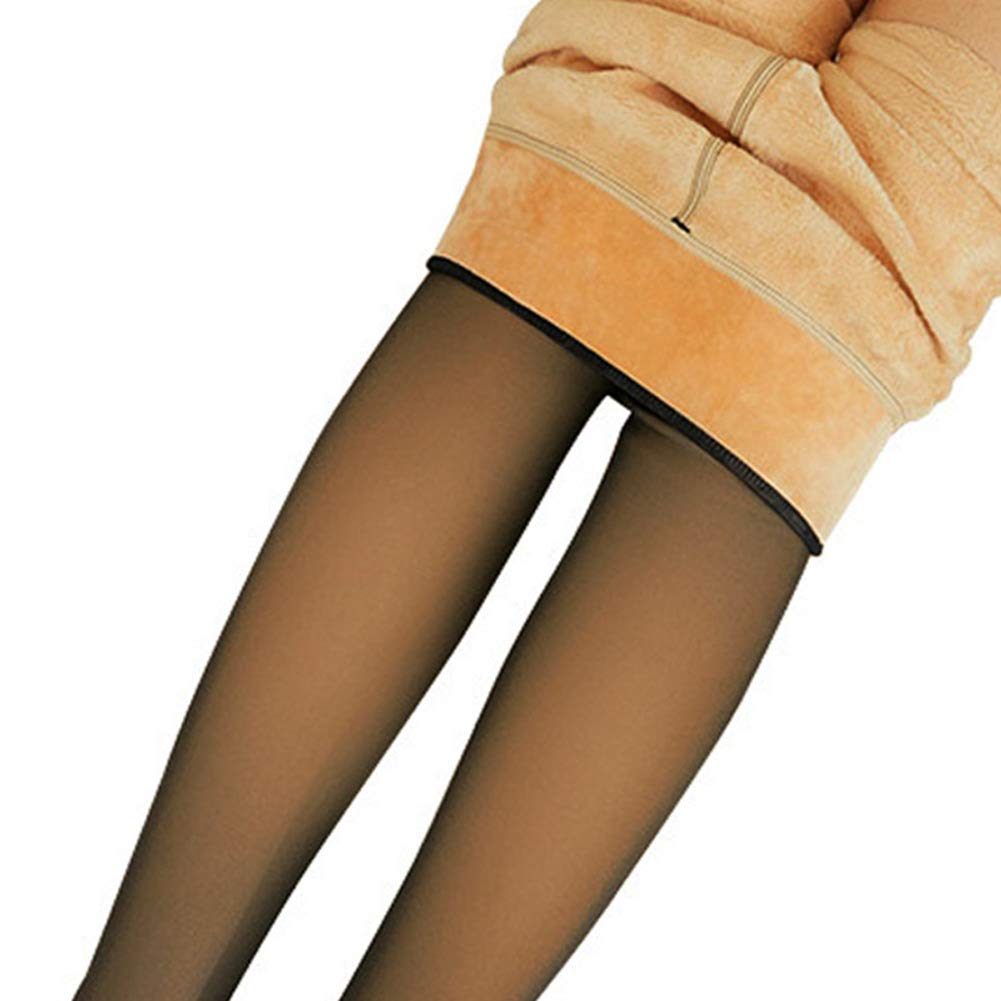 Metyere Legs Fake Translucent Warm Fleece Pantyhose Slim Stretchy for Winter Outdoor Women Fleece Lined Leggings High Waist Compression Slimming Warm Opaque Tights