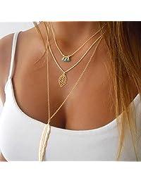 Susenstone Women Multilayer Irregular Pendant Chain Statement Necklace